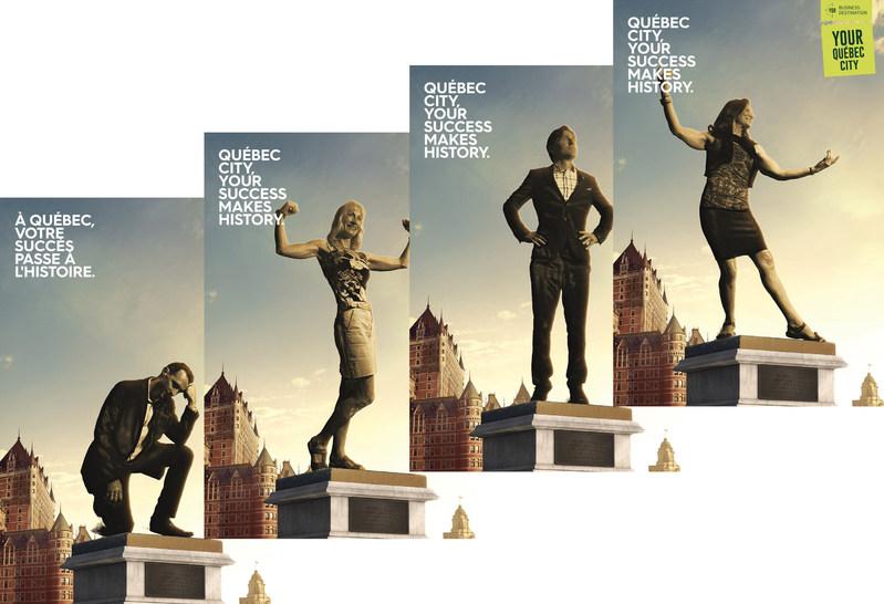 Concept visuel de la campagne numérique de Québec Destination affaires intitulée « À Québec, votre succès passe à l'histoire ». (Groupe CNW/Société du Centre des congrès de Québec)