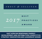 Frost & Sullivan recognizes Rift Valley Energy with its 2017 East African Competitive Strategy Innovation and Leadership Award. (PRNewsfoto/Frost & Sullivan)
