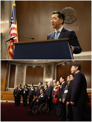 "Above:  Global Peace Foundation Chairman Dr. Hyun Jin P. Moon said unification remains the dream of all Koreans, but that ""contextualizing Korea's future in its founding ideals removes all the foreign constructs and allows the Korean people to take charge of their own destiny."" Below: A delegation of six members of Korea's National Assembly join leaders representing Action for Korea United, a coalition of more than 900 civil society organizations supporting unification efforts, at the ""International Forum in One Korea 2017: Solutions to the Korean Peninsula Crisis"" in Washington, D.C."