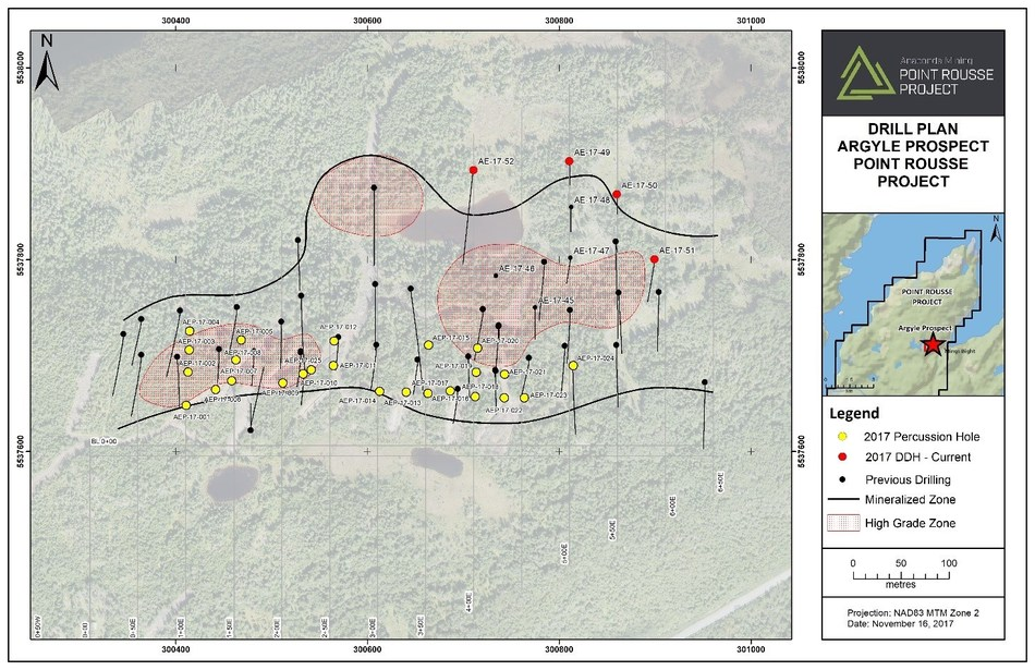 Exhibit A.  A map showing the location of diamond drill holes reported in this press release (red) and percussion drill holes (yellow) and previous drilling (black).  The high-grade areas are outlined in red with all mineralization outlined in black. (CNW Group/Anaconda Mining Inc.)