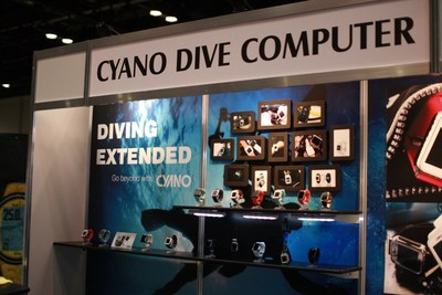 An innovative dive computer, CYANO's, booth at DEMA SHOW 2017