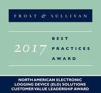 2017 North American Electronic Logging Device (ELD) SolutionsCustomer Value Leadership Award (PRNewsfoto/Frost & Sullivan)