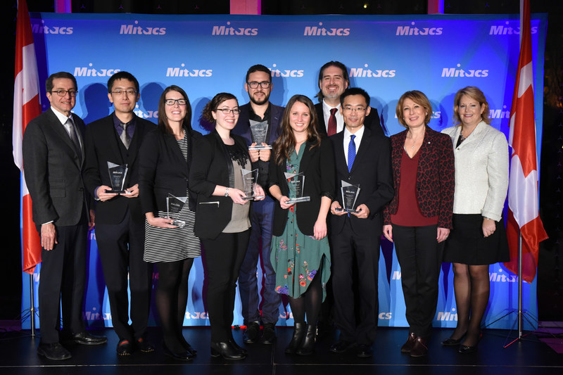 The recipients and dignitaries present at the 2017 Mitacs Awards, including Alejandro Adem, Mitacs; Professor Steve Liu, McGill University; Amy Bender, University of Calgary; Caitlin Miron, Queen's University; Houssem Zouaghi, Higher Institute of Multimedia Arts of Manouba; Justine Behan, McGill University; Jean-Nicolas Paquin, OPAL-RT TECHNOLOGIES; Qingwang Yuan, University of Regina; Mona Nemer, Chief Science Advisor, Government of Canada; and Diane Gray, Chair, Board of Directors, Mitacs. (CNW Group/Mitacs Inc.)