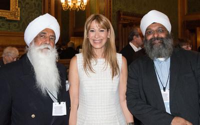From L -Bhai Sahib, Bhai (Dr.) Mohinder Singh Ahluwalia OBE, KSG Bhai Sahib is the third in line of Sikh religious leaders of GNNSJ UK, International Singer Songwriter Tally Koren www.tallykoren.com, America Singh Ubhi Nishkam Centre Director