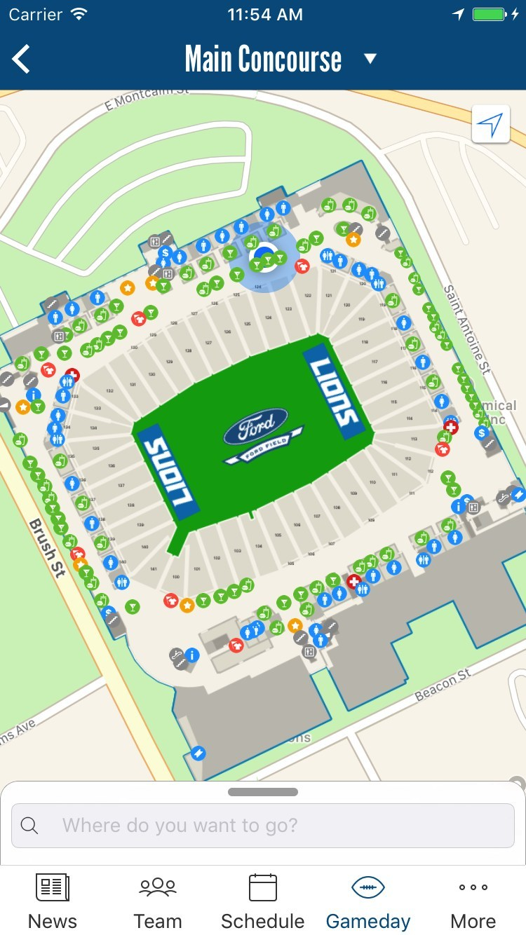 Through a collaboration with YinzCam, the mobile app and software developer based in Pittsburgh, the Detroit Lions became the first team in the NFL to implement Apple Indoor Positioning into their iOS app, an important consideration as part of the $100 million renovation to the team's stadium, Ford Field, during the offseason.
