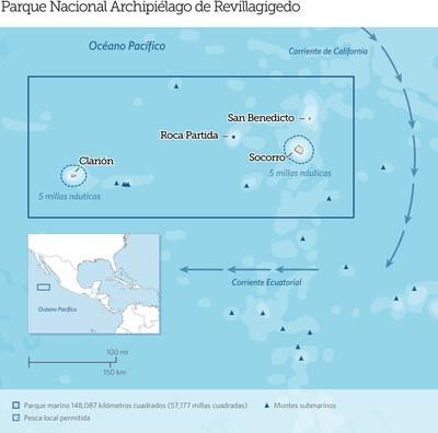 El mexicano Parque Nacional Archipiélago de Revillagigedo, localizado a 400 kilómetros (250 millas) al sur de la Península de Baja California, en el Océano Pacífico, es ahora la reserva marina protegida más grande de América del Norte. Las aguas del parque son el hogar de 366 especies de peces, incluyendo a 26 especies que no se encuentran en ningún otro lado. También son un sitio de reunión importante para especies migratorias de gran tamaño, como tiburones, ballenas, y tortugas marinas. Credit: The Pew Charitable Trusts