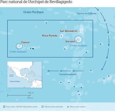 Le parc national de l'Archipel Revillagigedo au Mexique, situé à 400 kilomètres au sud de la péninsule de Baja, dans l'océan Pacifique, est désormais la plus grande réserve marine entièrement protégée d'Amérique du Nord. Les eaux du parc abritent 366 espèces de poissons, dont 26 ne vivent nulle part ailleurs. Ils servent également de lieu de rassemblement important pour les grandes espèces migratrices telles que les requins, les baleines et les tortues marines. Credit: The Pew Charitable Trusts