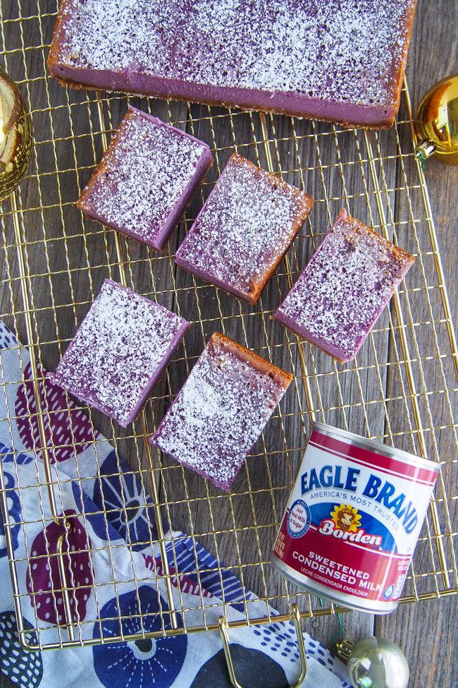 TV personality, cake designer and chef Greggy Soriano's Purple Yam Bars are made with ingredients including Eagle Brand® Sweetened Condensed Milk.