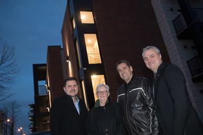 From left to right: Mayor Jean-Claude Boyer (St-Constant), Carole Handfield (Fonds immobilier de solidarité FTQ), Sylvain Grenon (Gestion Beau Toit) and François Huot (Fonds immobilier de solidarité FTQ) - Photographer: Denis Germain (CNW Group/Gestion Beau Toit)