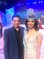 Dr.Amit Karkhanis of Dr.Tvacha Clinic with Miss World Manushi Chillar, just after she was crowned in China (PRNewsfoto/Dr. Tvacha Clinic)