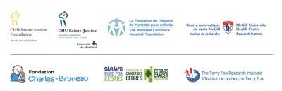 Logos : Fondation CHU Sainte-Justine, CHU Sainte-Justine, Fondation de l'Hôpital de Montréal pour enfants, Institut de recherche du CUSM, Fondation Charles-Bruneau, Fonds de Sarah, Institut de recherche Terry Fox (IRTF) (Groupe CNW/La Fondation de l'Hôpital de Montréal pour enfants)