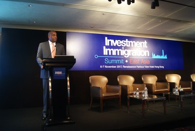 Prime Minister Roosevelt Skerrit of The Commonwealth of Dominica speaking at the Investment Immigration Summit East Asia in Hong Kong earlier this month. (PRNewsfoto/Beacon Events)