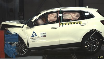 In an offset frontal crash that was conducted according to Euro NCAP requirements, the Borgward BX7 did extremely well as it sped at 64 km/h into a deformable barrier with a 40 percent overlap. The deceleration values for the occupants are mostly in non-critical range, and the risk of injuries is low.  Borgward Group AG (PRNewsfoto/Borgward Group AG)
