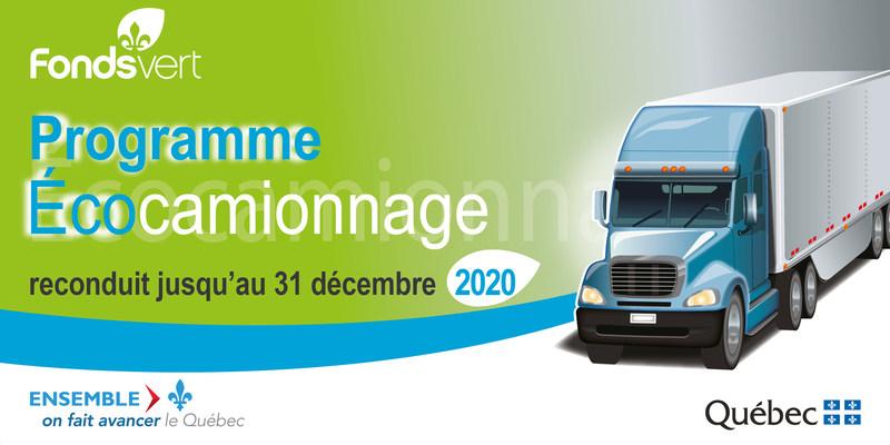 Reconduction du programme Écocamionnage jusqu'au 31 décembre 2020 et allocation d'une enveloppe de 77,5 millions de dollars en provenance du Fonds vert. (Groupe CNW/Cabinet du ministre des Transports, de la Mobilité durable et de l'Électrification des transports)