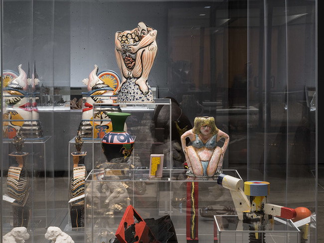 """Installation view of """"Funk To Punk: Left Coast Ceramics"""" at the Everson Museum of Art"""