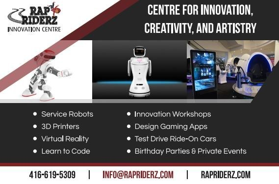 Rap Riderz Innovation Centre brings Robots, 3D Printing, and Virtual Reality to Aurora, Ontario (CNW Group/Rap Riderz)