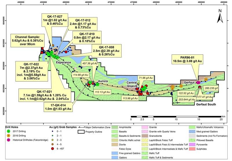 Figure 1 : Faits saillants du forage et de la prospection pour le programme de travaux 2017 sur la propriété Qiqavik (1) (Groupe CNW/RNC Minerals)