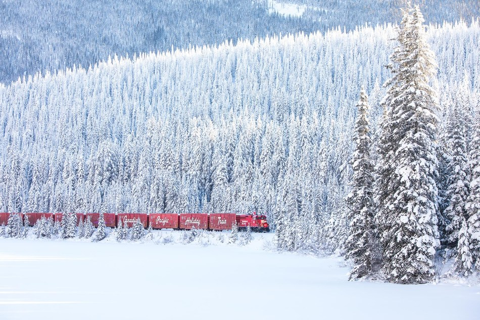 CP Holiday Train travelling through the Rocky Mountains (CNW Group/Canadian Pacific Holiday Train)