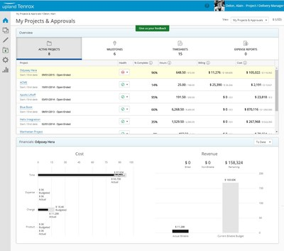 Tenrox PSA new project management user interface