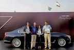 Winners of BMW Golf Cup International 2017 - Mr. S Venkteshwaran, Mr. Vikram Pawah, President, BMW Group India, Ms. Monica Jajoo and Mr. Abhyudaya Sanghi (PRNewsfoto/BMW India Private Limited)