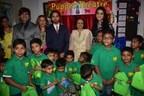 Mr. Yash Birla, Avanti Birla, Nirvaan Birla, President of SMILE foundation & Mrs Amruta Fadnavis at Globe Tot'ers felicitation (PRNewsfoto/Birla Edutech)