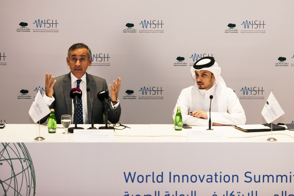 Professor the Lord Darzi of Denham, Executive Chair of WISH (left), Khalifa Al Kubaisi, Head of Press Office, Qatar Foundation, at the launch of WISH 2018, in Doha, Qatar. (PRNewsfoto/WISH)