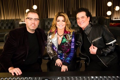 """THE LAUNCH Episode 1 Celebrity mentors (L-R): award-winning producer/songwriter busbee; international music icon and reigning """"Queen of Country Pop"""" Shania Twain and series co-creator and record mogul Scott Borchetta (CNW Group/CTV)"""