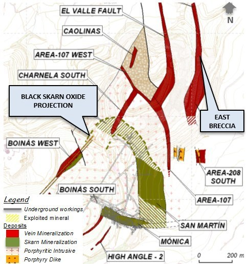 Figure 1: El Valle-Boinás and Carlés Maps Showing Location of BSO, EBX and CNW - El Valle Boinás Deposit