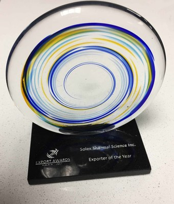 Alberta Exporter of the Year Award 2017 (CNW Group/Solex Thermal Science Inc)
