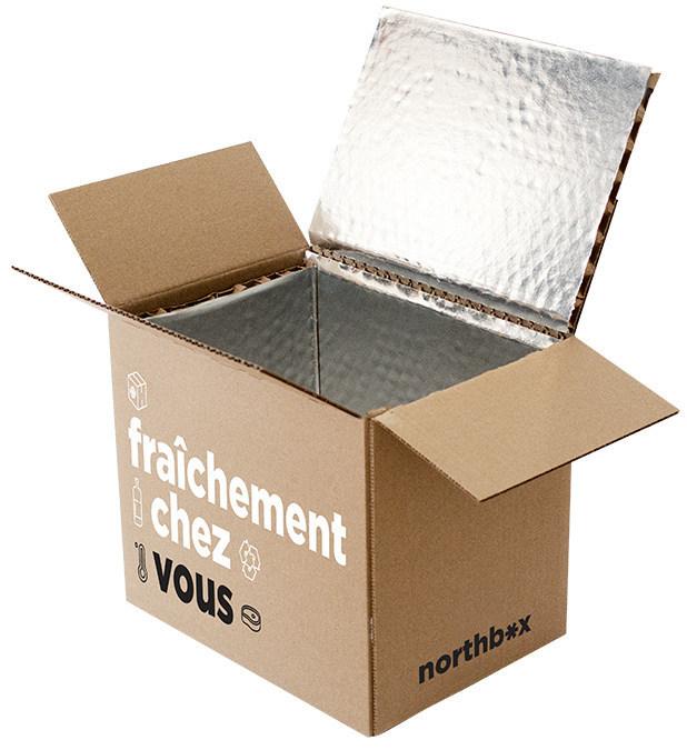 Cascades a conçu northbox, une boîte isolante recyclable qui permet de livrer des produits sensibles à la température à domicile. (Groupe CNW/Cascades Inc.)