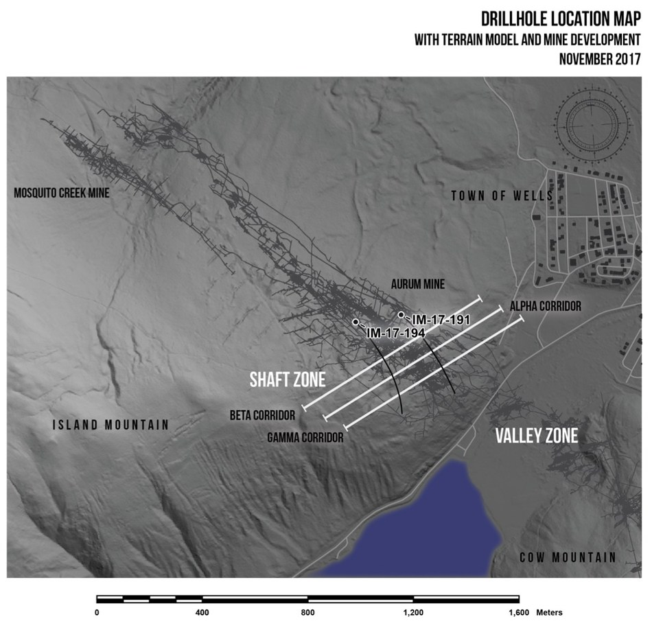 Drillhole Location Map (CNW Group/Barkerville Gold Mines Ltd.)