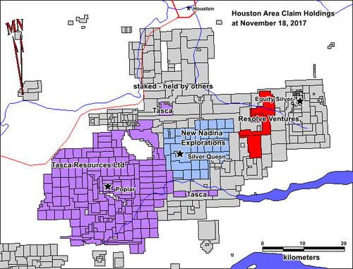 Houston Area Claim Holdings at November 18, 2017 (CNW Group/Resolve Ventures Inc.)