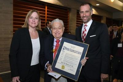 Celebrating Launch of St. John's Mattone Family Institute for Real Estate Law  (L-R): Melinda Katz, Joseph M. Mattone, Sr., and Dean Michael A. Simons