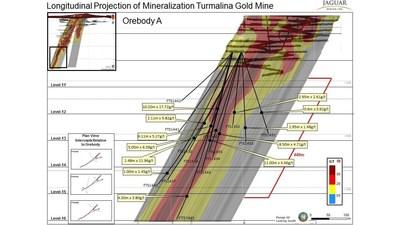 Longitudinal Projection of Mineralization Turmalina Gold Mine (CNW Group/Jaguar Mining Inc.)