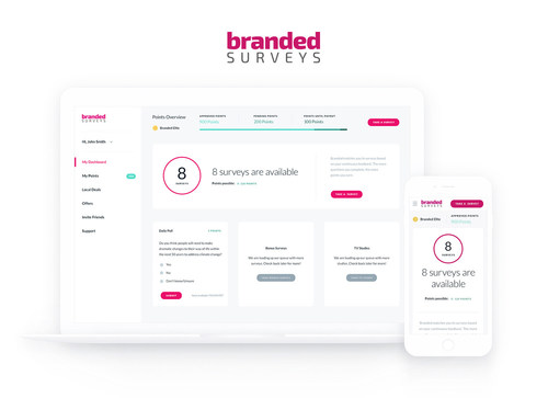 Branded Surveys enhanced dashboard.