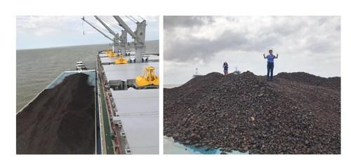 Pictures: Yuki Yamamoto – Sales Mananger checking the shipment at Belem Port, Brazil (CNW Group/Meridian Mining S.E.)