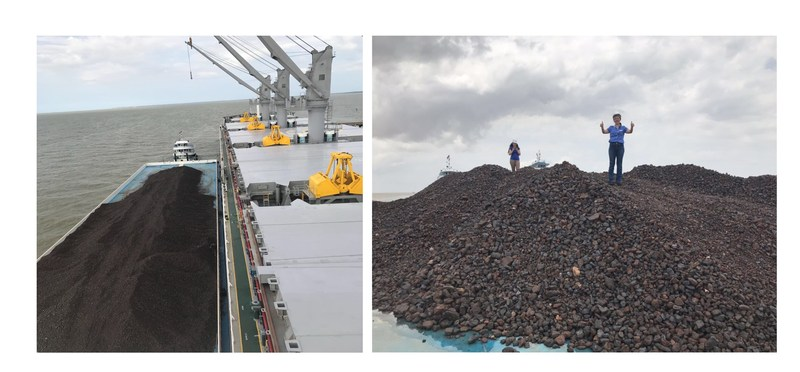 Pictures: Yuki Yamamoto – Sales Mananger checking the shipment at Belem Port, Brazil (CNW Group/Meridian Mining S.E.)