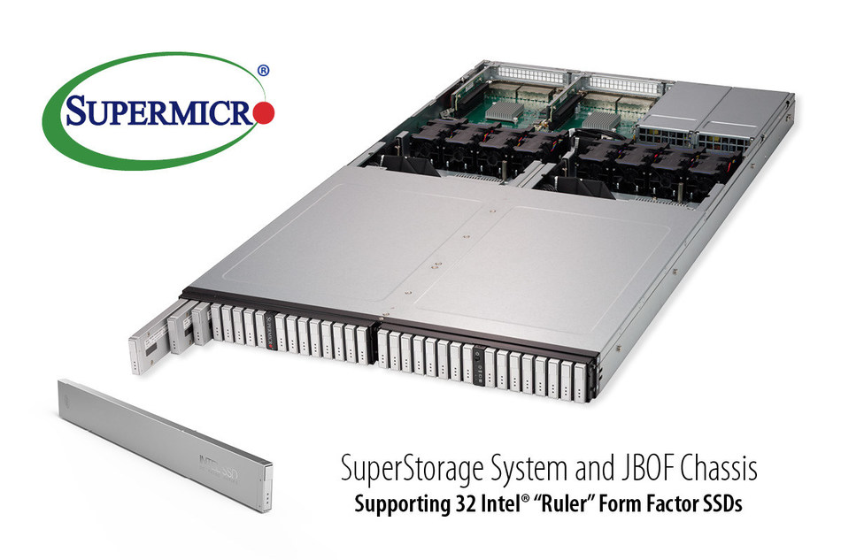 "Supermicro first with 1U all-flash NVMe solution optimized for new Intel ""Ruler"" form factor SSDs"