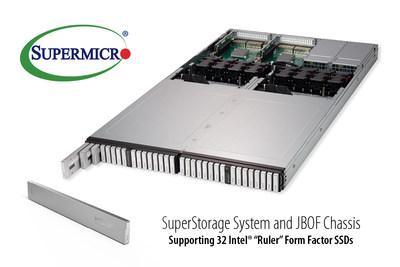 """Supermicro é pioneira em solução de NVMe all-flash otimizada para os novos SSDs com fator de forma Intel """"Ruler"""" (PRNewsfoto/Super Micro Computer, Inc.)"""