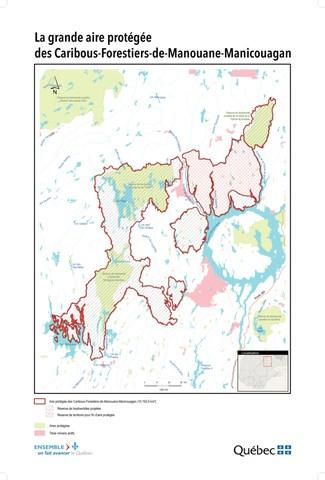 Carte du projet d'aire protégée des Caribous-Forestiers-de-Manouane-Manicouagan (Groupe CNW/Cabinet de la ministre du Développement durable, de l'Environnement et de la Lutte contre les changements climatiques)