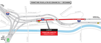 Projet Turcot - Fermetures dans le secteur des échangeurs Turcot et Angrignon durant la fin de semaine du 1er décembre 2017 (Groupe CNW/Ministère des Transports, de la Mobilité durable et de l'Électrification des transports)