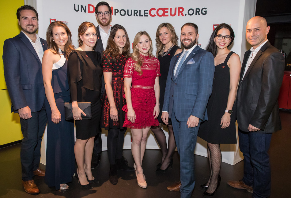 Patrick Fouquette, Dr. Julia Cadrin-Tourigny, Janie Brunelle, Jean-Philippe Joyal, Adriana Embiricos, Joannie Rochette, Elsa Desjardins, Olivier Rénald, Marie-Laurence Migneault and Christian Bavota (CNW Group/Montreal Heart Institute Foundation)