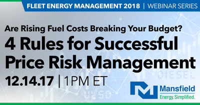 Mansfield Energy provides fuel price protection services to a broad range of industries including transportation, government, waste services, and construction. For companies considering fixed price and other risk management approaches, Jay Blanton, Director of Fuel Price Risk Management, will host an educational webinar December 14, 2017, at 1:00 pm ET. The complimentary session provides best practices for utilizing fixed price purchasing, how to create a risk management program and tips for avoiding common pitfalls.