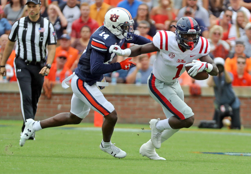 Ole Miss record-setting wide receiver A.J. Brown won the 2017 C Spire Conerly Trophy Monday night as the best college football player in the state of Mississippi. - photo courtesy of Ole Miss Athletics