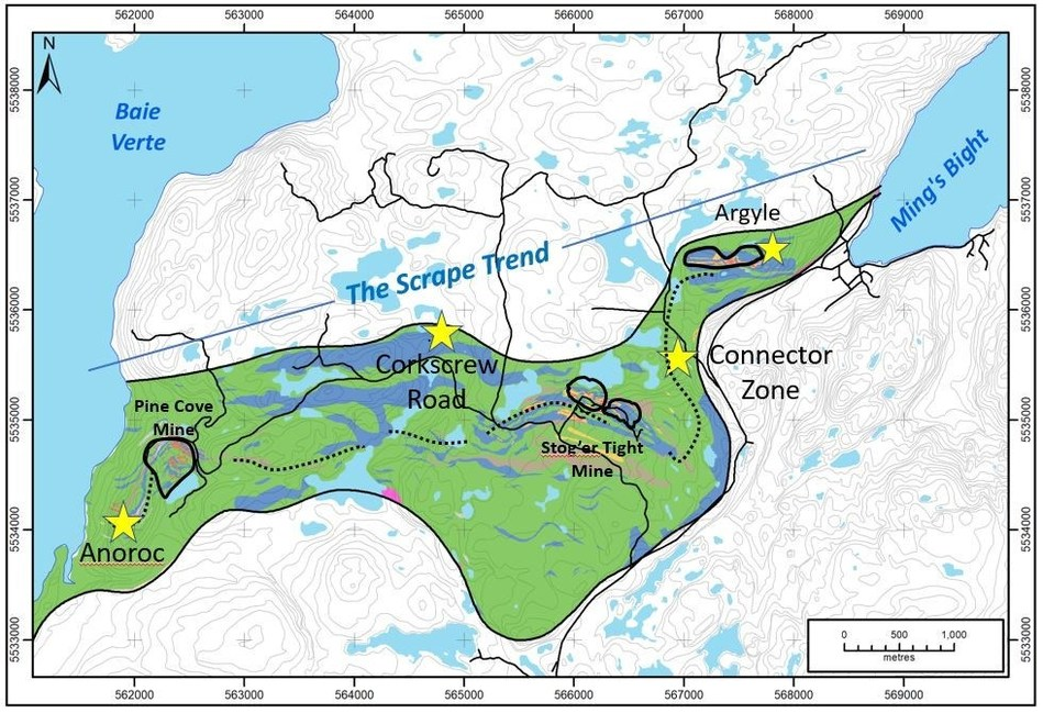 Exhibit A.  A map showing the location of the Scrape Trend, gold deposits and the key exploration targets which will be drilled within the Point Rousse Program. (CNW Group/Anaconda Mining Inc.)