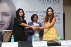 Popular style icon and fashion blogger Shalini Chopra unveils hair cosmeceuticals previewed by Hairline. Also seen are Dr Bani Anand, Founder & Managing Director, Hairline International and Dr Premalatha V, dermatosurgeon (PRNewsfoto/Hairline International Hair and)