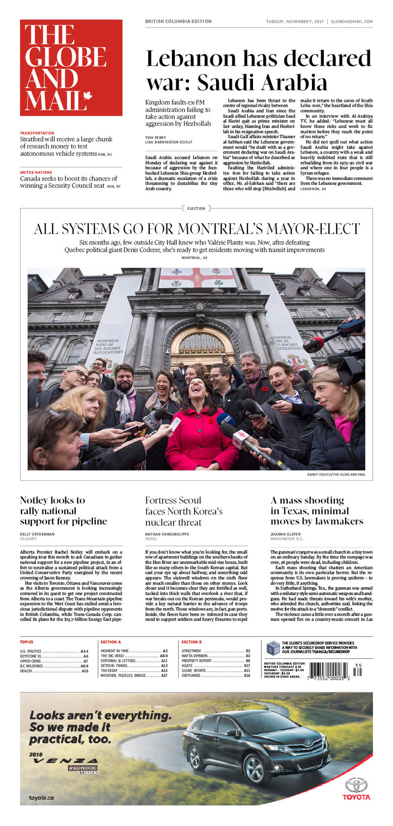 Example of the new redesigned Globe and Mail. (CNW Group/The Globe and Mail)