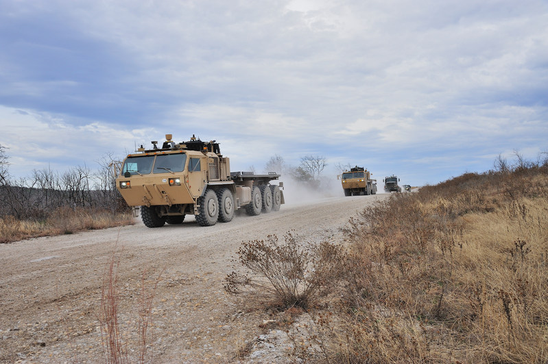 U.S. Army trucks equipped with Lockheed Martin's AMAS technology undergo an autonomous driving test at Fort Hood, Texas, in 2014.