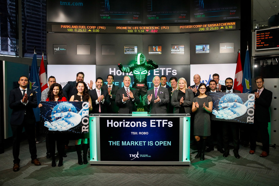 Steve Hawkins, President and Co-CEO, Horizons ETFs, joined Dani Lipkin, Head, Business Development, Exchange Traded Funds, Closed-End Funds, and Structured Notes, TMX Group, to open the market to launch Horizons Robotics and Automation Index ETF (ROBO). Horizons ETFs is a financial services company and a subsidiary of the Mirae Asset Financial Group. Horizons currently has 80 Exchange Traded Funds listed on Toronto Stock Exchange, with a market capitalization of over $9 billion. ROBO commenced trading on Toronto Stock Exchange on November 29, 2017. (CNW Group/TMX Group Limited)