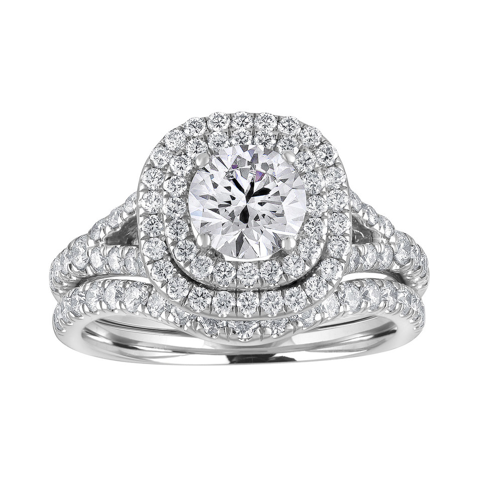 Pure Grown Diamonds Bridal Collection featuring a double hallo engagement ring with a matching band.